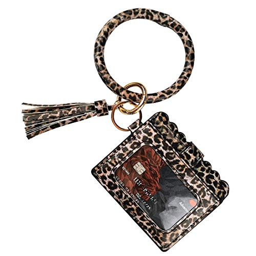 Multifunctional Wristlet Bracelet Keychain ID Card Holder, PU Bangle Key Ring Card Purse Credit Card Pocket Tassel for Women Girls (Black Leopard)