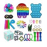 Paquete de 30 piezas de juguetes Fidget, juguetes sensoriales Fidget baratos, Fidget Toy Set Fidget Packs Fidget Box, con Stress Ball Marble Mesh, regalos para niños, adultos con autismo