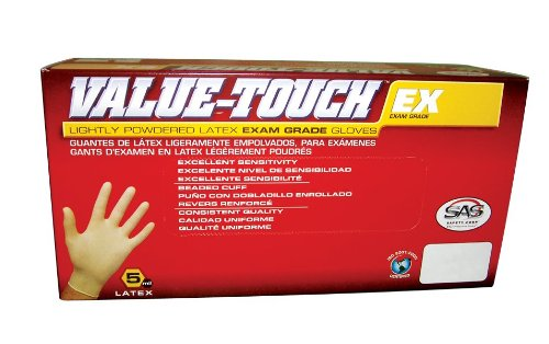 SAS Safety 6503 Value-Touch Exam Grade Disposable Latex 5 Mil Gloves, Large
