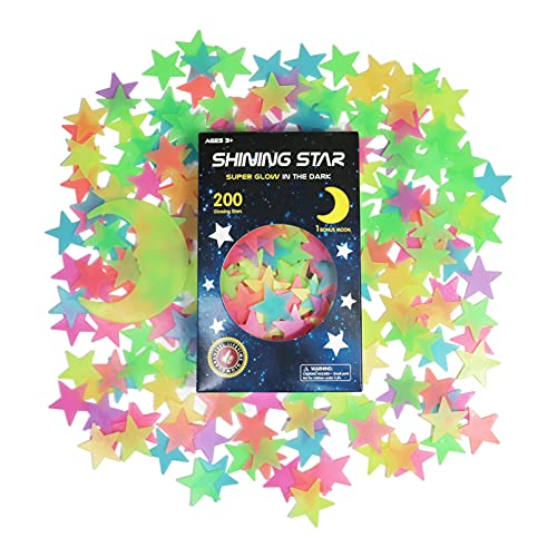 Glow in The Dark Stars Stickers for Ceiling, Adhesive 200pcs 3D Glowing Stars and Moon for Kids...