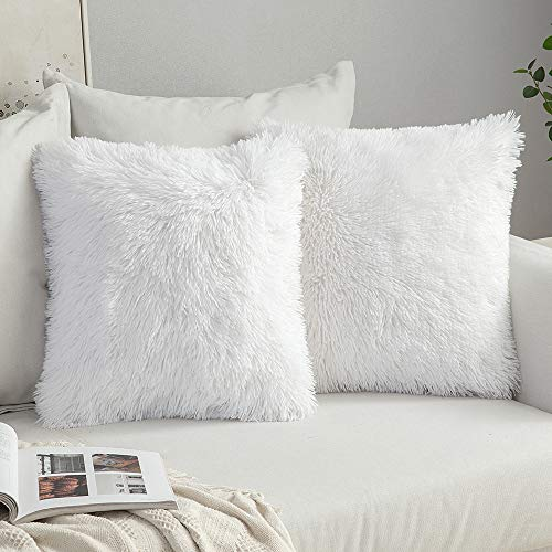 MIULEE Lot de 2 Housse de Coussin de Canapé Fourrure de Luxe Decoration canapé Maison Chambre Lit Super Doux Peluche Taie d'oreiller Décorative 40X40cm 16X16 Pouces,Blanc