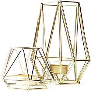 Xigeapg Set of 2 Gold Geometric Metal Tealight Candle Holders for Living Room & Bathroom Decorations - Centerpieces for Wedding & Dining Room, Coffee Side Tables Decor