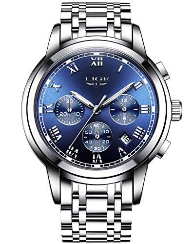 SPOTALEN Herren Uhr Analog Quarz wasserdichte mit Edelstahl Armband Chronograph 9810