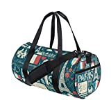 Small Duffle Bag France And Paris Trendy Gym Bag Sport Duffel Bag for Women Teen Girls Traveling