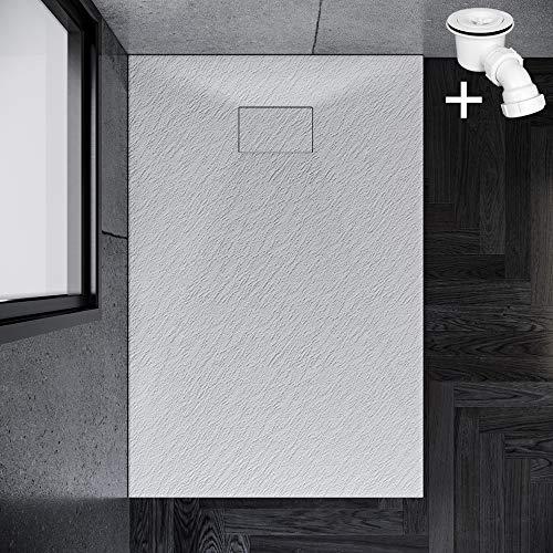 SONNI Duschwanne 140x90 cm Weiß Steinoptik Mineralguss Rechteckig Duschtasse mit Dusche Ablaufgarnitur