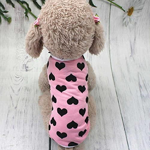 QQSM Camiseta de verano de algodón para perros de manga corta para perros pequeños o medianos (estampado de amor, M)