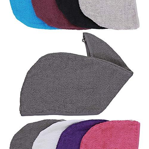 aztex Luxe Haar Tulband Handdoek Met Lus En Knoopsluiting, Katoen, 64 x 23 cm - grijs