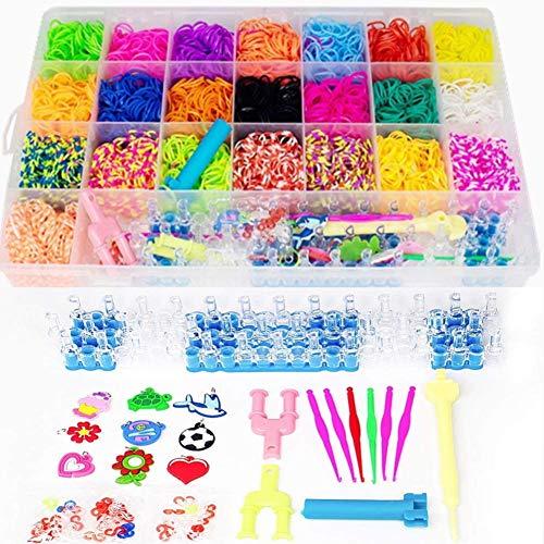 Towinle Caja Pulseras Gomas 4400 Bandas de Silicona Gomitas Para Hacer Pulseras De Colores Loom Kit para Pulseras