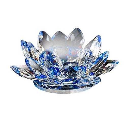 YA-Uzeun - Portavelas de cristal con forma de flor de loto, portavelas para velas de té, estilo budista. 7 colores, cristal, azul