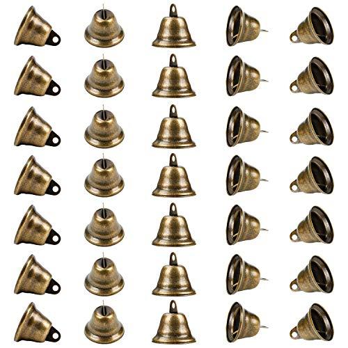 BELLE VOUS Vintage Bronze Glöckchen zum Basteln (35er Pack) 40 x 35 mm Kleine Anhänger zum Basteln, Deko Glocke, Kuhglocke Klein Weihnachten, Hochzeiten, Schmuck, Klangspiele, Hunde Einbruchstraining