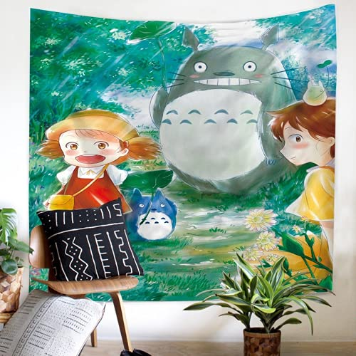 Amacigana My Neighbour Totoro Tapestry, arazzo 3D Anime Cartoon Wall Hanging Bedroom Living Room Dorm Bedside Tapestry, Background Fabric Decoration (Totoro #08,100 x 150 cm)