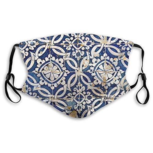 Wiederverwendbares Gesicht Anti Staub austauschbarer Filter Halbgesicht Sicherheit Mode Gesicht Abdeckung Portugiesisch glasierte Fliesen Dekokissen Sonnensichere Mode Bandana Kopfbedeckung zum Angeln