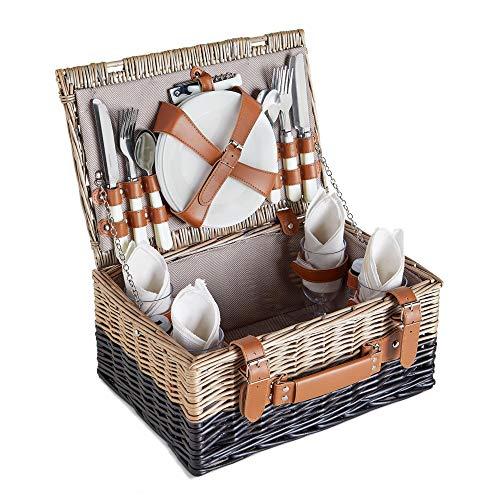 VonShef Picknickkorb für 4 Personen - Enthält Besteck, Teller, Weingläser,...
