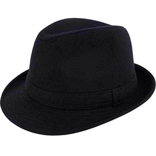 4979326d82e ALL IN ONE CART Men s Classic Manhattan Structured Gangster Trilby Fedora  Hat Short Brim Panama Hat