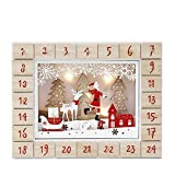 PIONEER-EFFORT Christmas Wooden Advent Calendar with 24 Drawers to Fill Small Gifts with LED Lights Countdown to Christmas Decoration 13 Inch (Natural-Santa Clause with Reindeer)