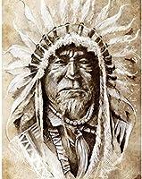 NC88 5Dダイヤモンド絵画肖像画先住民族のダイヤモンドパターンラインストーン家の装飾12x16インチ(フレームレス)