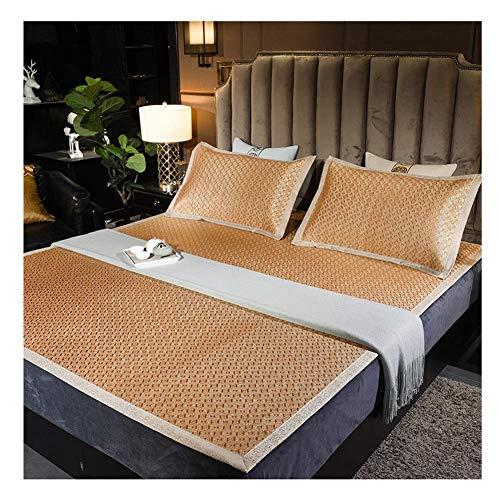 ZXL matrasbeschermer, verkoelend, rotan, zomercooling, slaapmatras, topper mat, zacht kussen, airconditioning, Ice Silk Bed Mat 2 maten pak 3-delig, 5 stijlen (kleur: A, maat