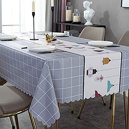N / A Tela de mesa de PVC gris Chandelier Pattern de mesa, paño de limpieza de mesa, impermeable y resistente al aceite, para el café en casa