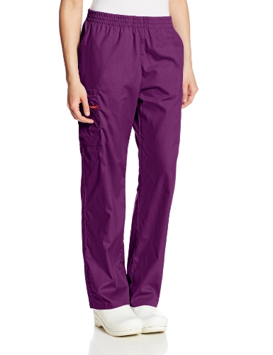 Dickies Women's Signature Elastic Waist Scrubs Pant, Eggplant, Small Tall