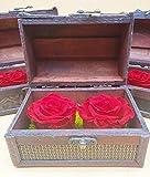 Rosas eternas Rojas. Cofre de Madera. Rosas preservadas...