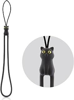 Bone Collection 黒猫 携帯 ストラップ スマホ ブラック シリコン FE045-BK