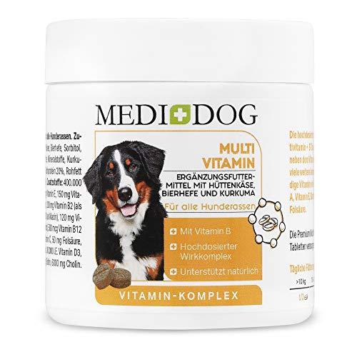 Medidog Vitamin B Komplex für Hunde Tabletten, Mit Multivitamin-Formel Haut + Fell Biotin, Folsäure, Inositol, Cholin, Pantothensäure, glänzendes Fell und gesunde Haut