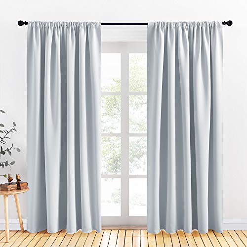 PONY DANCE Curtains 84 inches Length - Window Curtain Drapes Rod Pocket Top Room Darkening Curtains for Dining Room, 70 Wide x 84-Inches Long, Greyish White, 2 Pieces