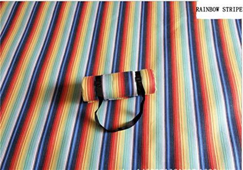 Bele 200 * 300cm Picknickmatte Manta Picknickdecke Camp Teppich feuchtigkeitsbeständig Wasserdicht haltbar tragbar maschinenwaschbar, Rianbow Stripe, 200cm 300cm