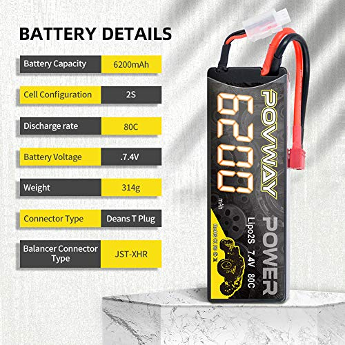 POVWAY 2S 6200mAh 7.4V LiPo Battery Hard Case 80C with T Plug for RC Cars, RC Truck,Buggy-2pack