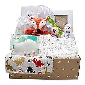 Kelzia Canastilla para Bebé Recién Nacido - Caja de Regalo de Bienvenida con Ropa de Algodón, Pañales Biodegradables, Peluche, Marco de Fotos y Más - Vegano, Algodón Hipoalergénico - Unisex (BOX1)