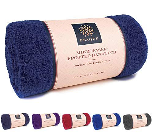 Microfaser Handtuch Frottee XXL, Dusch-Handtuch, Fitness-Handtuch, Sport-Tuch (Petrol, Marine-blau, Navy, 100 x 200 cm)