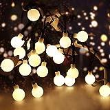 Catena Luminosa 10M 100 Led Solari Luci Stringa Led Luci con 8 Modalità di luce Decorative Bianco Caldo Luci Natalizie Per Natale, Anno Nuovo, Matrimonio, Bar, Caffè, Piscina, Esterno ed Interno