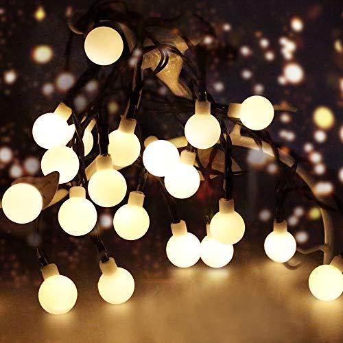 LED Solar Lichterkette Aussen, 100 Globe LED 10m (32.80ft) mit 8 Lichtmodi SolarLichterkette, Drinnen&Außen IP44 Wasserdicht Deko Glühbirne für Garten Balkon Party Hochzeit Weihnachten (Warmweiß)