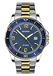 Chrome coloured case with blue bezel Blue dial with date display Two-tone gold plated stainless steel bracelet Water resistance to 50 metres 2 year guarantee chrome coloured case with blue bezel blue dial with date display two-tone gold plated stainl...