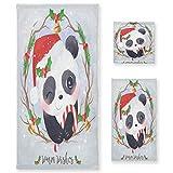Navidad Negro Bebé Panda Juego de Toallas para Baño Playa 100% Algodón de Piscina Toalla (1 Toalla de Baño y 1 Toalla de Mano y 1 Paño de Lavado) para Nadar Hotel Niñas Niños Niños