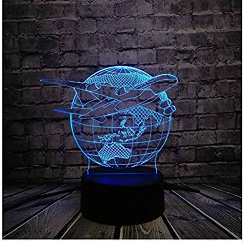 Kreative 3D-USB-LED-Lampe Globe Earth Plan Flugzeuge Triumph Skies 7 Farben Ändern der Stimmung Glühbirne Pilot Geschenk Raumdekoration Rgb