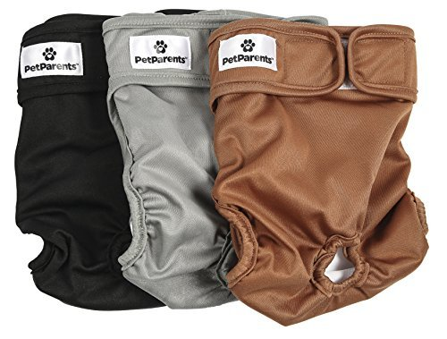 Pet Parents Washable Dog Diapers (3pack) of Doggie Diapers, Color: Natural, Small Dog Diapers