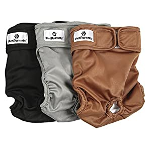 Pet Parents Washable Dog Diapers (3pack) of Durable Doggie Diapers, Premium Male & Female Dog Diapers