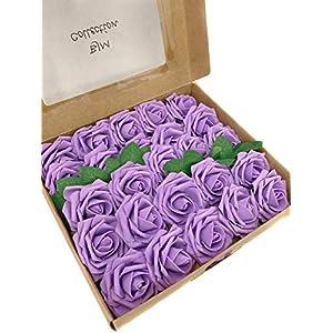 Silk Flower Arrangements BJM Collection Artificial Flowers 25pcs Fake Rose Latex Foam with Stem Wedding Bouquets Centerpieces Bridal Shower Party Decoration (Lavender)