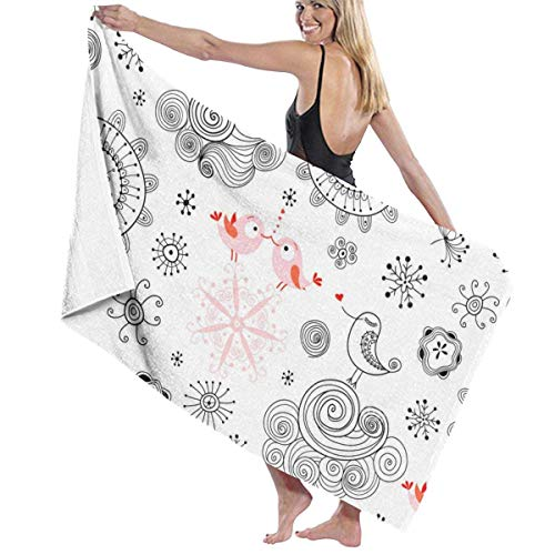 chillChur-DD Bath Towel Badetuch Wrap Birds Flowers Drucke Womens Spa Dusche und...