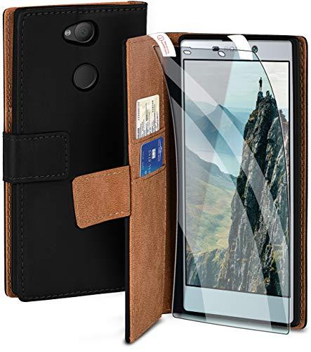 moex Handyhülle für Sony Xperia L2 - Hülle mit Kartenfach, Geldfach & Ständer, Klapphülle, PU Leder Book Hülle & Schutzfolie - Schwarz