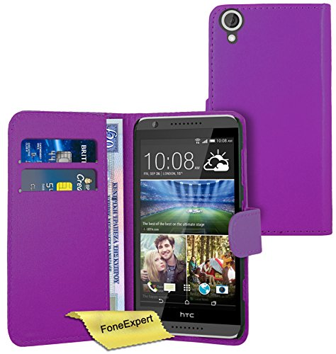 FoneExpert® Wallet Hülle Flip Cover Hüllen Etui Ledertasche Lederhülle Premium Schutzhülle für HTC Desire 820 + Bildschirmschutzfolie (Lila)