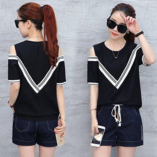 QNQA mode femme mis en robe d'été à bretelles shorts, tee - shirt slim tempérament deux pièce 5,s,noir
