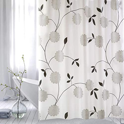 WEIXINHAI Shower Rollo Curtain Duschvorhang Badewannevorhang - 180x180cm Wasserdicht Anti-Schimmel inkl 12 Duschvorhangringe für Badezimmer (Tree Flowers, 180 x 180)
