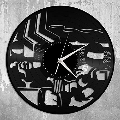 Karting Reloj de Pared de Vinilo Amigos Hombres Habitación Decoración del hogar Diseño Vintage Oficina Bar Habitación Decoración del hogar Decoración para Dormitorio o Sala de Juegos Fantasía clásica
