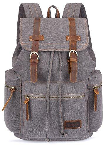 BLUBOON Vintage Backpack Leather Trim Casual Bookbag Men Women Laptop Travel Rucksack