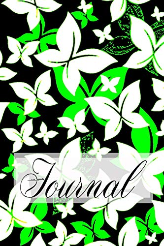 Journal: Beautiful Pretty Elegant Butterfly Art Black & Chartreuse Fluorescent Green Softcover Diary Notebook   100 Cream Lined Writing Pages   Fluttering Butterflies Nature Design