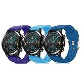 Pack de 3 pulseras de 22 mm compatibles con Huawei Watch GT 2 / Samsung Galaxy Watch 46 mm / Gear S3 correa de reloj de silicona suave, cierre rápido, repuesto transpirable DE71003 (color 16-18)