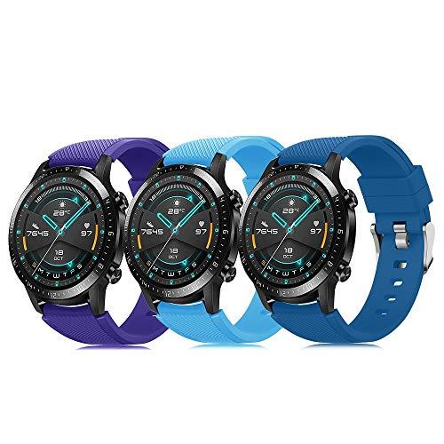 XMUXI Pack de 3 pulseras de 22 mm compatibles con Huawei Watch GT 2 / Samsung Galaxy Watch 46 mm / Gear S3 correa de reloj de silicona suave, cierre rápido, repuesto transpirable DE71003 (color 16-18)