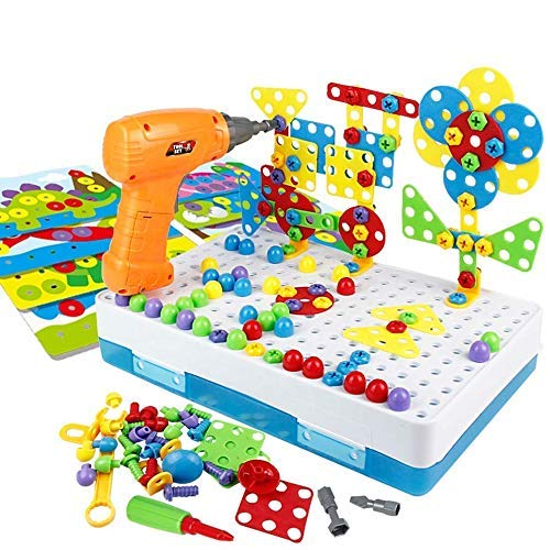 STEM Learning Toys, 224 Pieces, Electric Drill Educational Set, Construction Engineering Building Blocks